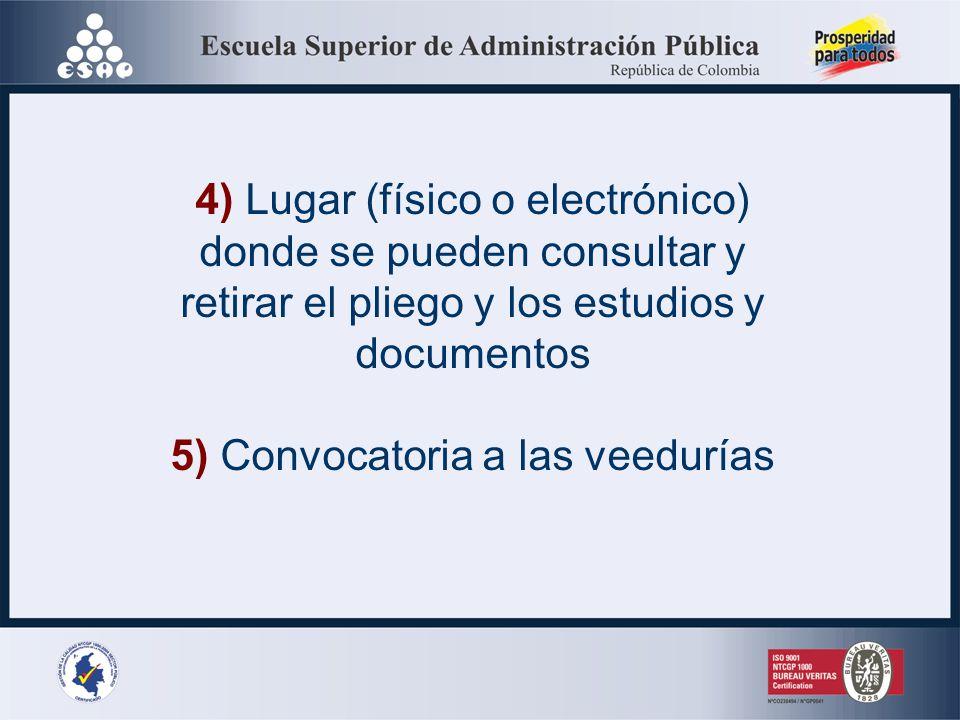 CONTENDRÁ 1) Objeto de la contratación 2) Modalidad de selección 3) Cronograma del proceso, plazo de la licitación, y fechas y lugares de las distinta