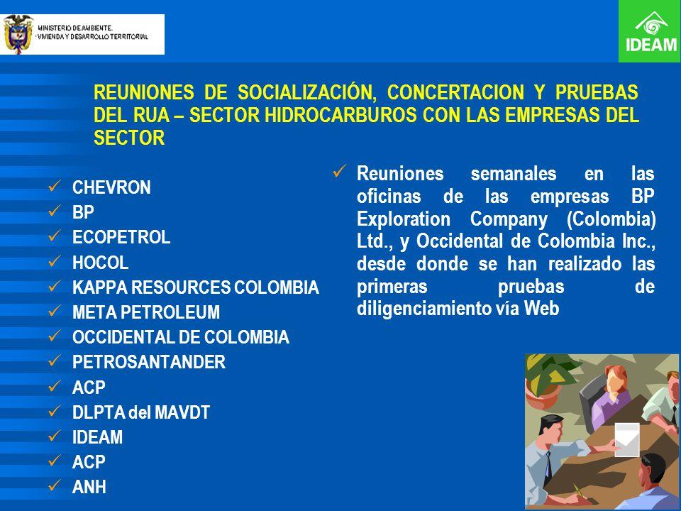 REUNIONES DE SOCIALIZACIÓN, CONCERTACION Y PRUEBAS DEL RUA – SECTOR HIDROCARBUROS CON LAS EMPRESAS DEL SECTOR CHEVRON BP ECOPETROL HOCOL KAPPA RESOURC