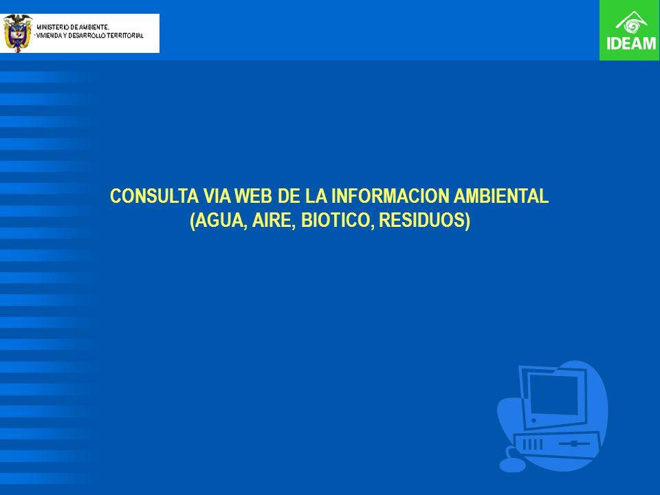 CONSULTA VIA WEB DE LA INFORMACION AMBIENTAL (AGUA, AIRE, BIOTICO, RESIDUOS)