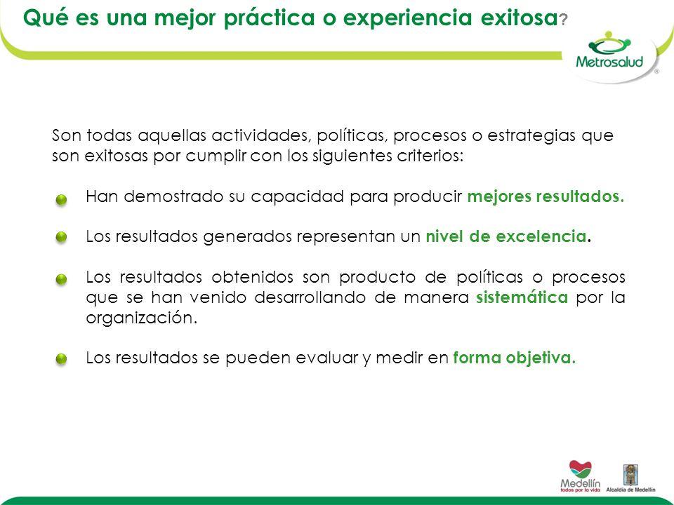 Qué es una mejor práctica o experiencia exitosa ? Son todas aquellas actividades, políticas, procesos o estrategias que son exitosas por cumplir con l