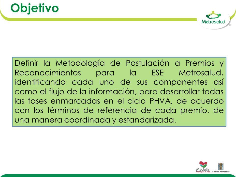 Objetivo Definir la Metodología de Postulación a Premios y Reconocimientos para la ESE Metrosalud, identificando cada uno de sus componentes así como el flujo de la información, para desarrollar todas las fases enmarcadas en el ciclo PHVA, de acuerdo con los términos de referencia de cada premio, de una manera coordinada y estandarizada.