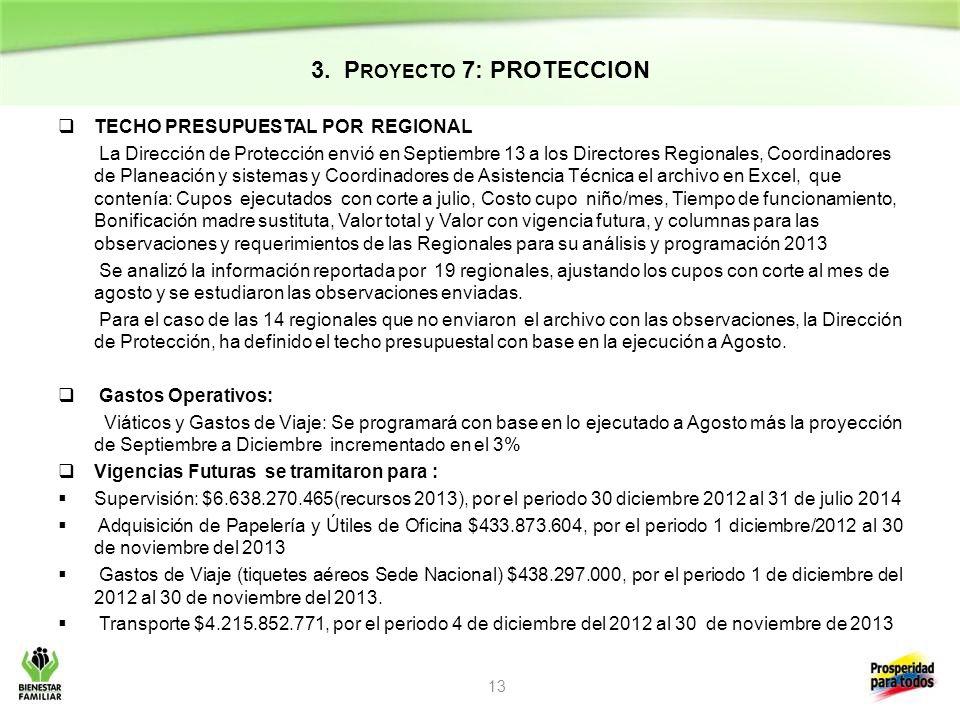 3. P ROYECTO 7: PROTECCION TECHO PRESUPUESTAL POR REGIONAL La Dirección de Protección envió en Septiembre 13 a los Directores Regionales, Coordinadore