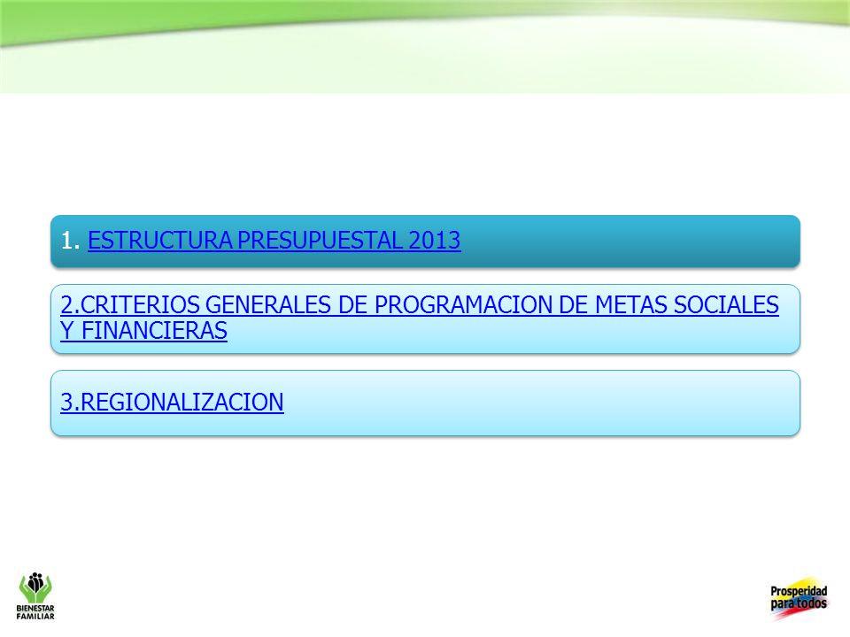 1. ESTRUCTURA PRESUPUESTAL 2013ESTRUCTURA PRESUPUESTAL 2013 2.CRITERIOS GENERALES DE PROGRAMACION DE METAS SOCIALES Y FINANCIERAS 3.REGIONALIZACION