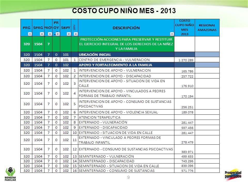 COSTO CUPO NIÑO MES - 2013 9
