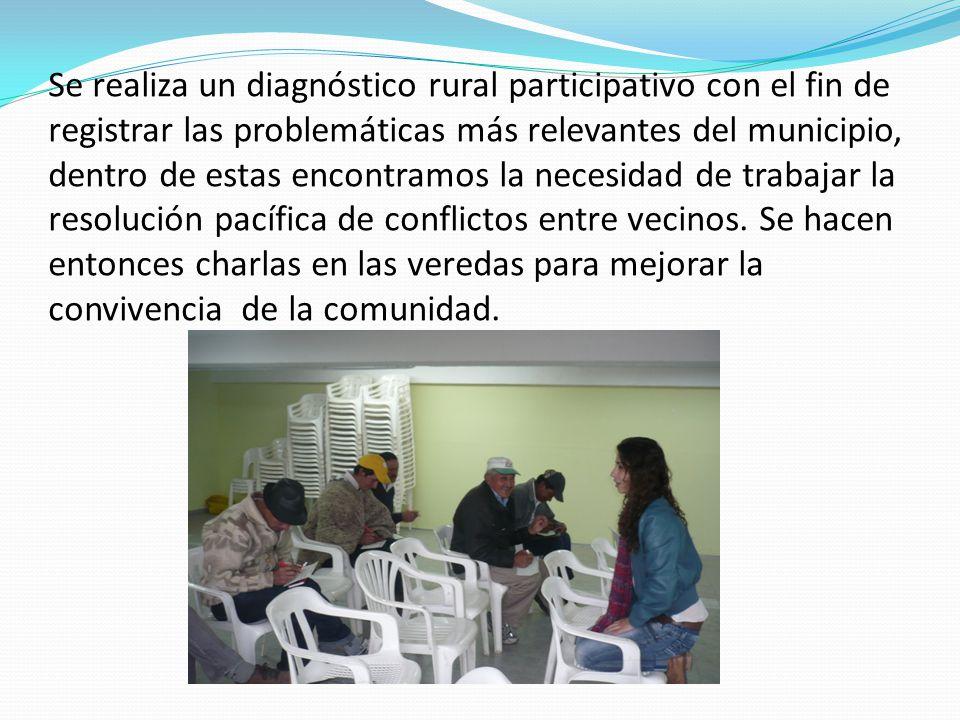 Se realiza un diagnóstico rural participativo con el fin de registrar las problemáticas más relevantes del municipio, dentro de estas encontramos la necesidad de trabajar la resolución pacífica de conflictos entre vecinos.