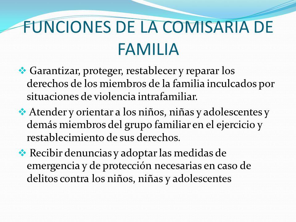 FUNCIONES DE LA COMISARIA DE FAMILIA Garantizar, proteger, restablecer y reparar los derechos de los miembros de la familia inculcados por situaciones