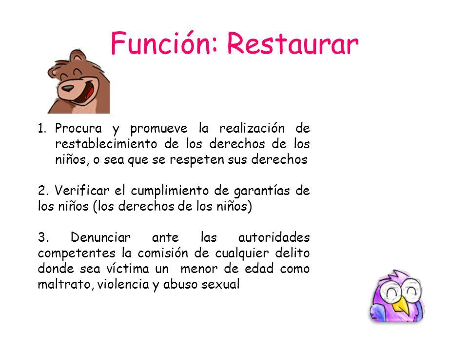 Función: Restaurar 1.Procura y promueve la realización de restablecimiento de los derechos de los niños, o sea que se respeten sus derechos 2. Verific