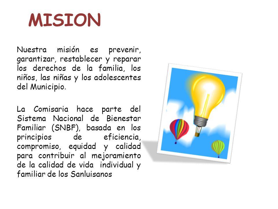 MISION Nuestra misión es prevenir, garantizar, restablecer y reparar los derechos de la familia, los niños, las niñas y los adolescentes del Municipio