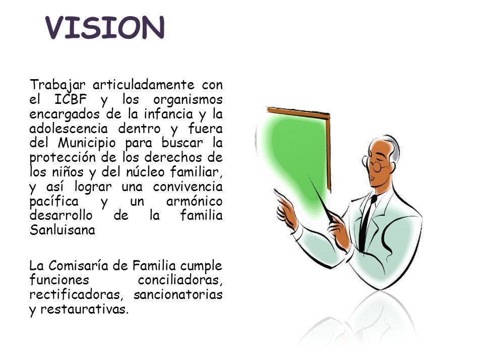 VISION Trabajar articuladamente con el ICBF y los organismos encargados de la infancia y la adolescencia dentro y fuera del Municipio para buscar la p