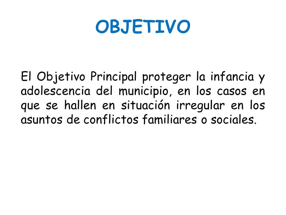 OBJETIVO El Objetivo Principal proteger la infancia y adolescencia del municipio, en los casos en que se hallen en situación irregular en los asuntos