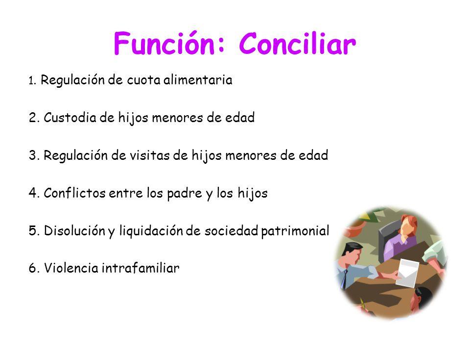 Función: Conciliar 1. Regulación de cuota alimentaria 2. Custodia de hijos menores de edad 3. Regulación de visitas de hijos menores de edad 4. Confli