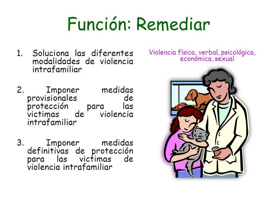 Función: Remediar 1.Soluciona las diferentes modalidades de violencia intrafamiliar 2. Imponer medidas provisionales de protección para las victimas d