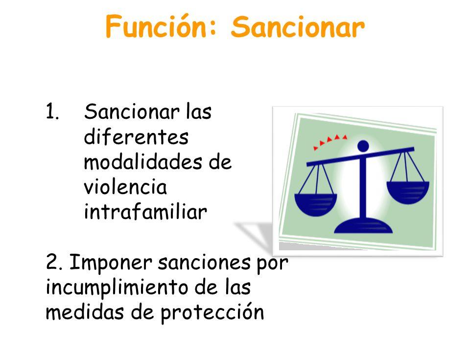 Función: Sancionar 1.Sancionar las diferentes modalidades de violencia intrafamiliar 2. Imponer sanciones por incumplimiento de las medidas de protecc