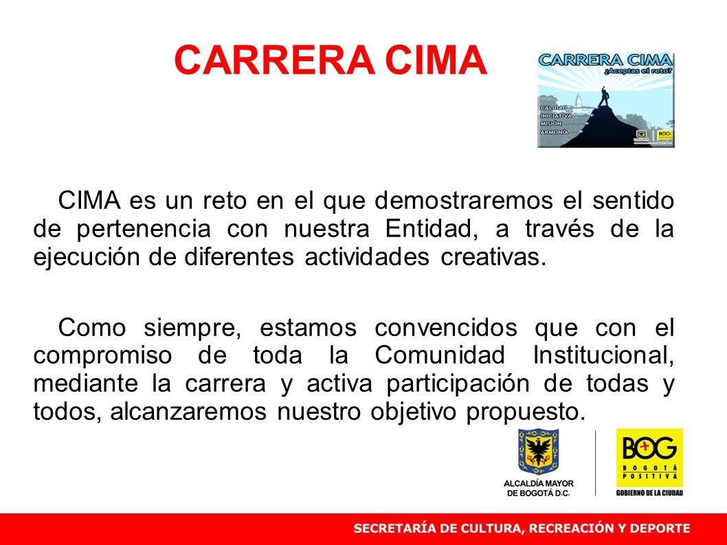 CIMA es un reto en el que demostraremos el sentido de pertenencia con nuestra Entidad, a través de la ejecución de diferentes actividades creativas.