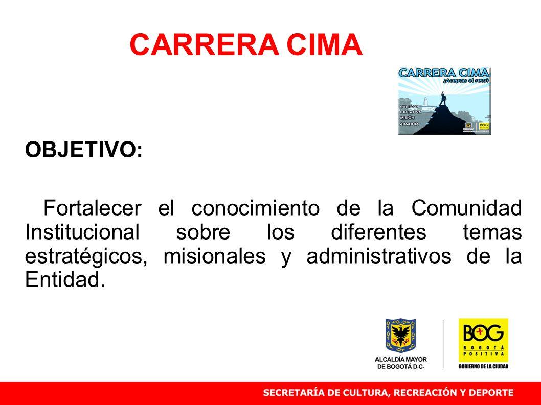 OBJETIVO: Fortalecer el conocimiento de la Comunidad Institucional sobre los diferentes temas estratégicos, misionales y administrativos de la Entidad.