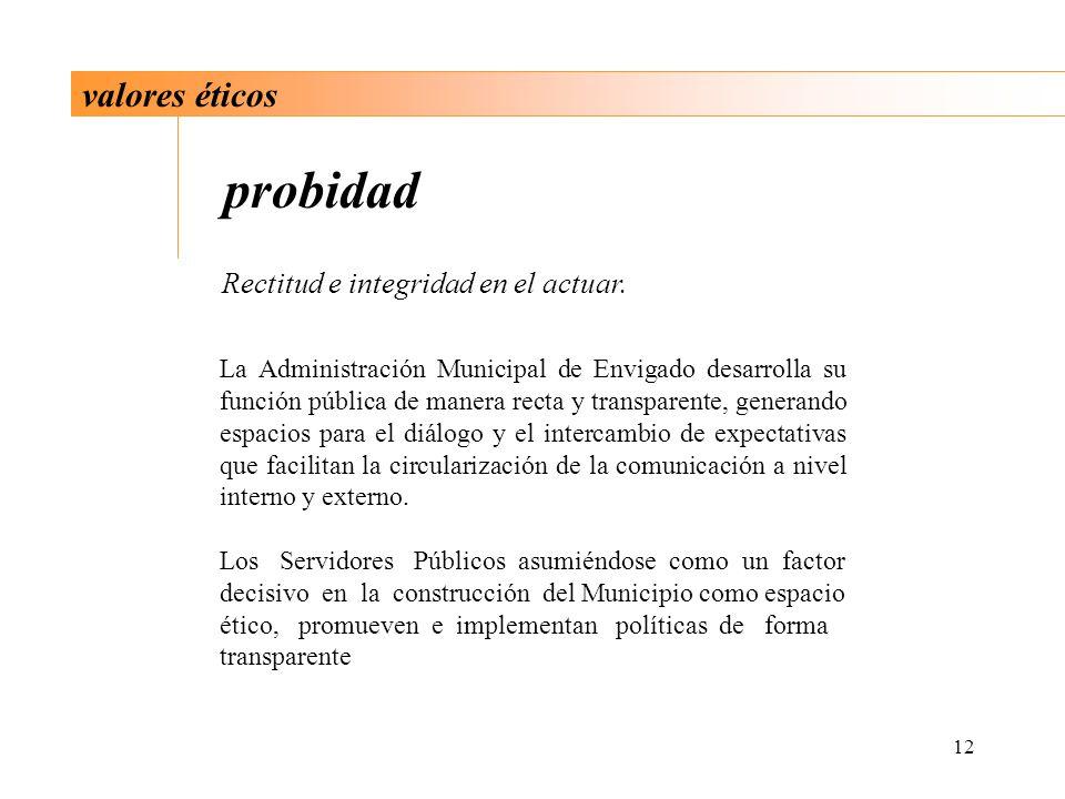 12 valores éticos probidad Rectitud e integridad en el actuar. La Administración Municipal de Envigado desarrolla su función pública de manera recta y