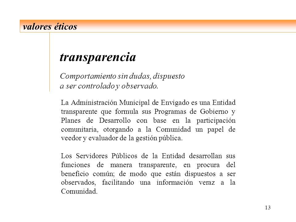 13 valores éticos transparencia Comportamiento sin dudas, dispuesto a ser controlado y observado. La Administración Municipal de Envigado es una Entid