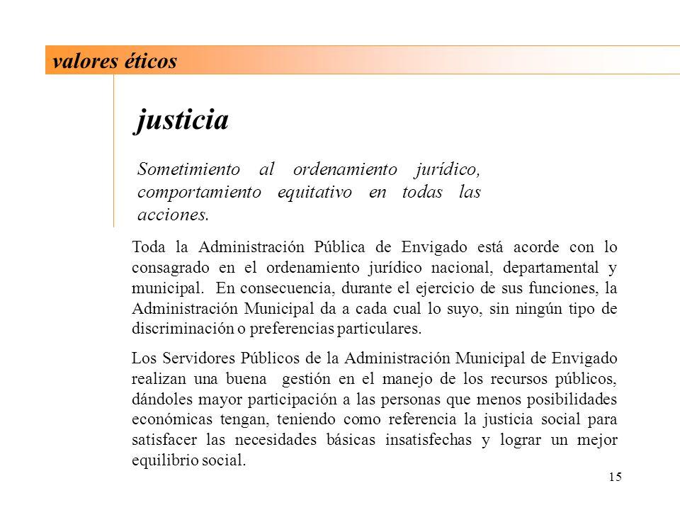 15 valores éticos justicia Sometimiento al ordenamiento jurídico, comportamiento equitativo en todas las acciones. Toda la Administración Pública de E