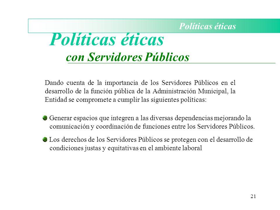 21 Políticas éticas con Servidores Públicos Dando cuenta de la importancia de los Servidores Públicos en el desarrollo de la función pública de la Adm