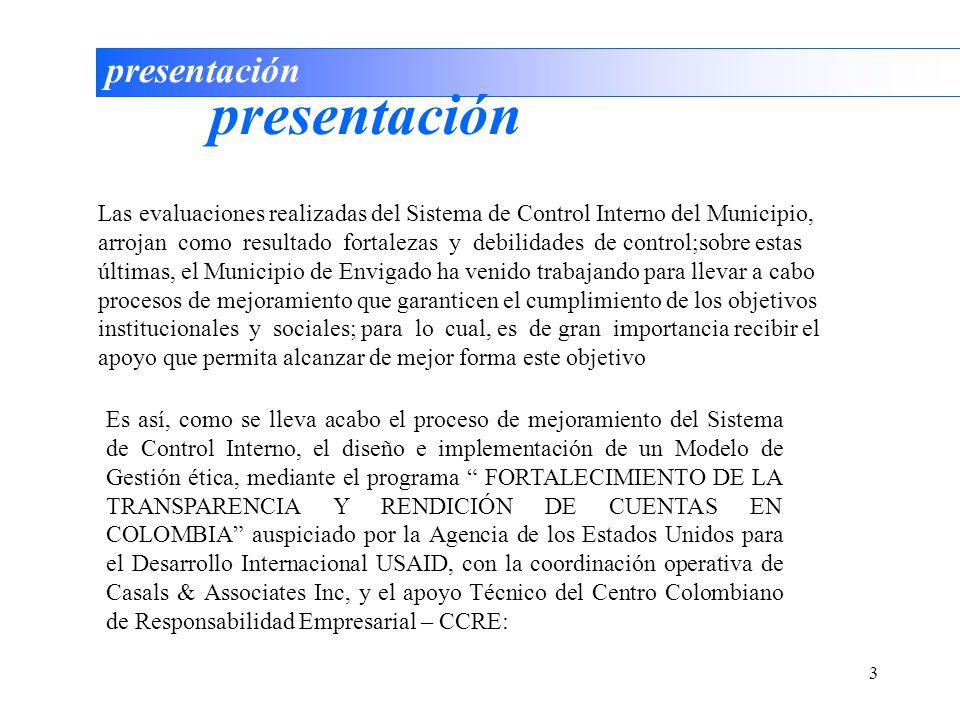 3 presentación Es así, como se lleva acabo el proceso de mejoramiento del Sistema de Control Interno, el diseño e implementación de un Modelo de Gesti