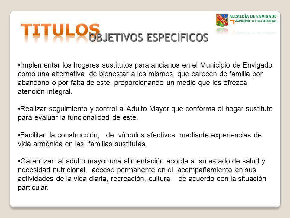 OBJETIVOS ESPECIFICOS Implementar los hogares sustitutos para ancianos en el Municipio de Envigado como una alternativa de bienestar a los mismos que