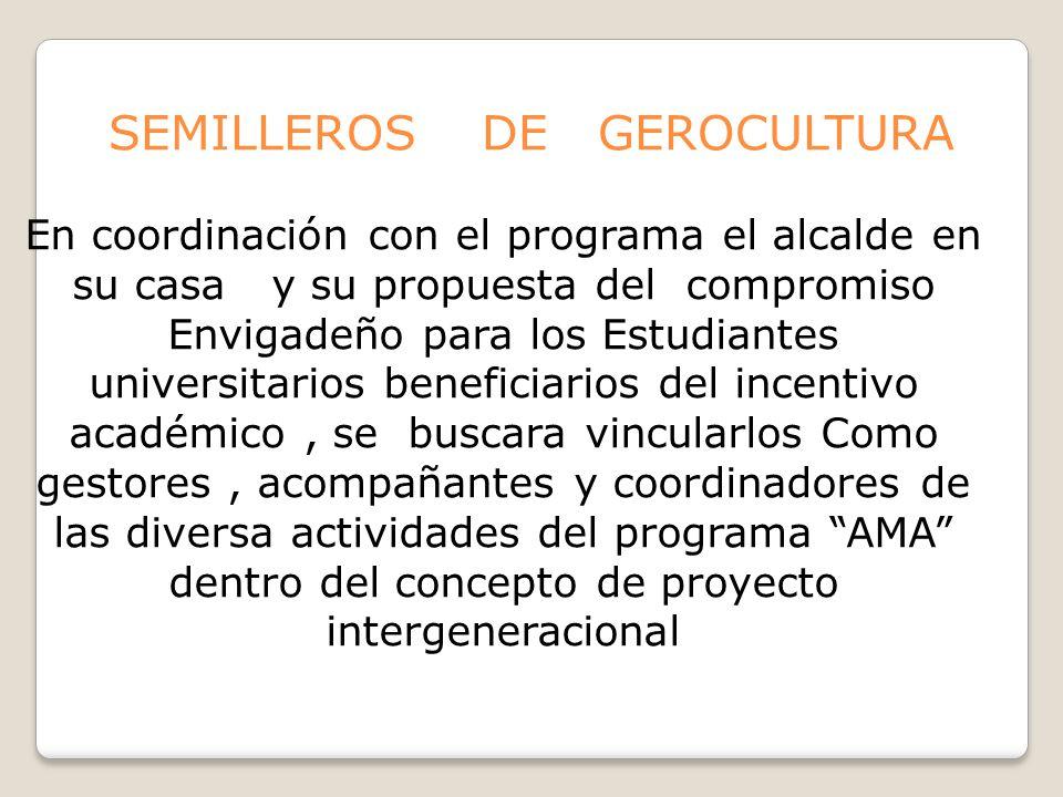 SEMILLEROS DE GEROCULTURA En coordinación con el programa el alcalde en su casa y su propuesta del compromiso Envigadeño para los Estudiantes universi