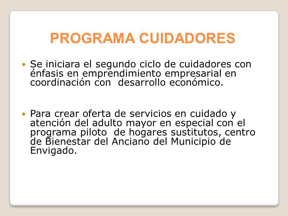 Se iniciara el segundo ciclo de cuidadores con énfasis en emprendimiento empresarial en coordinación con desarrollo económico. Para crear oferta de se