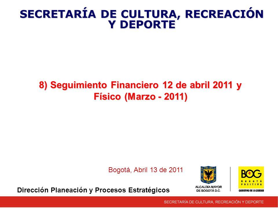 8) Seguimiento Financiero 12 de abril 2011 y Físico (Marzo - 2011) SECRETARÍA DE CULTURA, RECREACIÓN Y DEPORTE Bogotá, Abril 13 de 2011 Dirección Planeación y Procesos Estratégicos