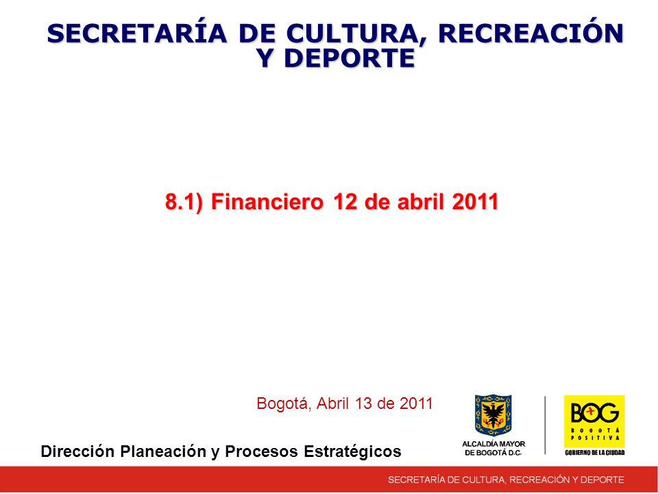 8.1) Financiero 12 de abril 2011 SECRETARÍA DE CULTURA, RECREACIÓN Y DEPORTE Bogotá, Abril 13 de 2011 Dirección Planeación y Procesos Estratégicos