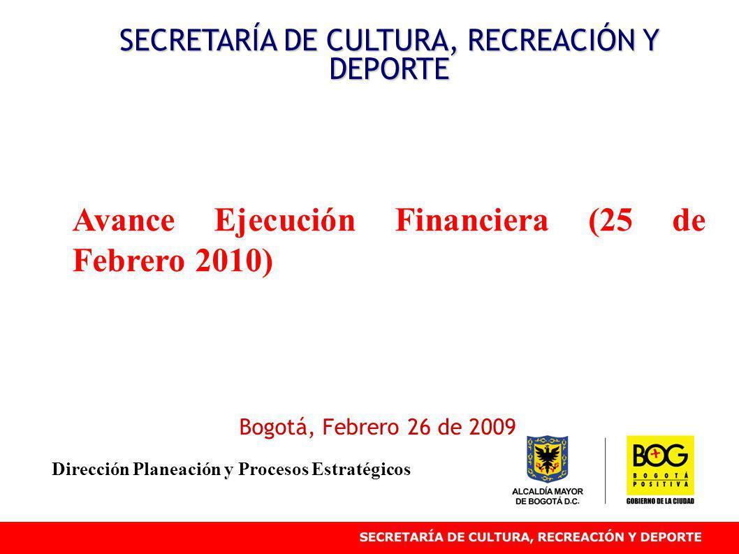 Avance Ejecución Financiera (25 de Febrero 2010) SECRETARÍA DE CULTURA, RECREACIÓN Y DEPORTE Bogotá, Febrero 26 de 2009 Dirección Planeación y Proceso