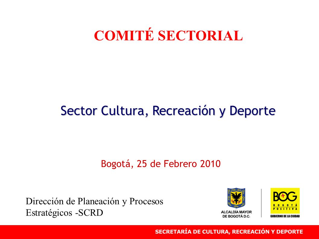 COMITÉ SECTORIAL Sector Cultura, Recreación y Deporte Bogotá, 25 de Febrero 2010 Dirección de Planeación y Procesos Estratégicos -SCRD