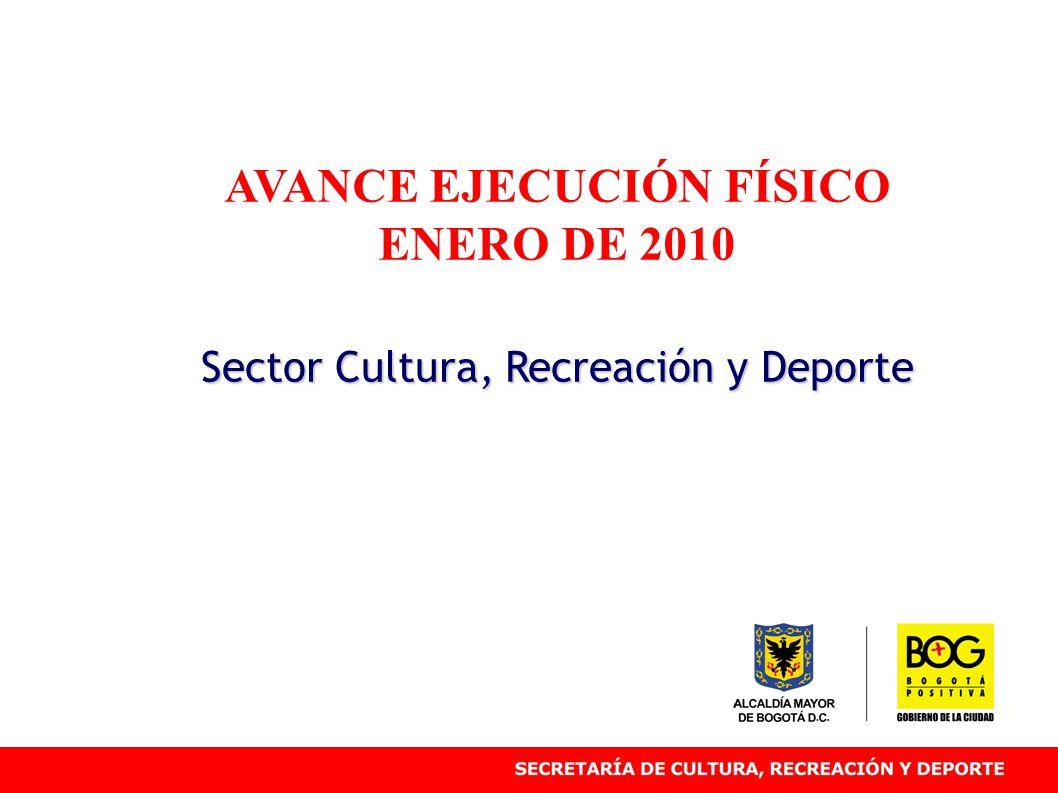 AVANCE EJECUCIÓN FÍSICO ENERO DE 2010 Sector Cultura, Recreación y Deporte