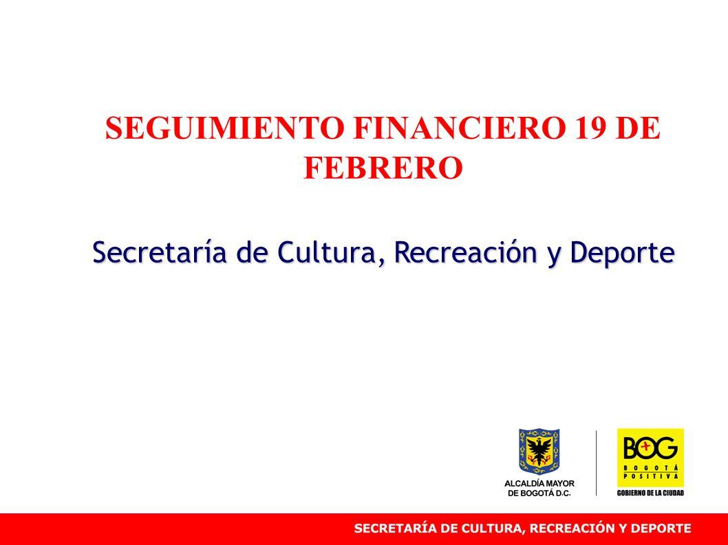 SEGUIMIENTO FINANCIERO 19 DE FEBRERO Secretaría de Cultura, Recreación y Deporte