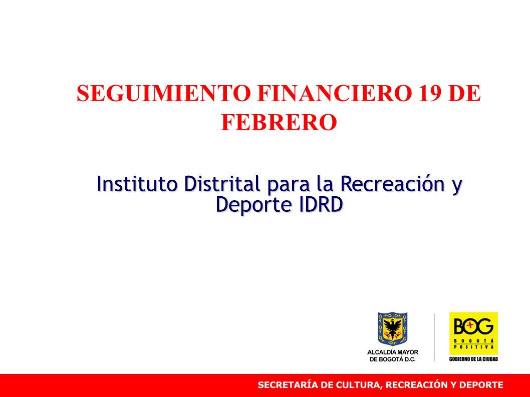 SEGUIMIENTO FINANCIERO 19 DE FEBRERO Instituto Distrital para la Recreación y Deporte IDRD
