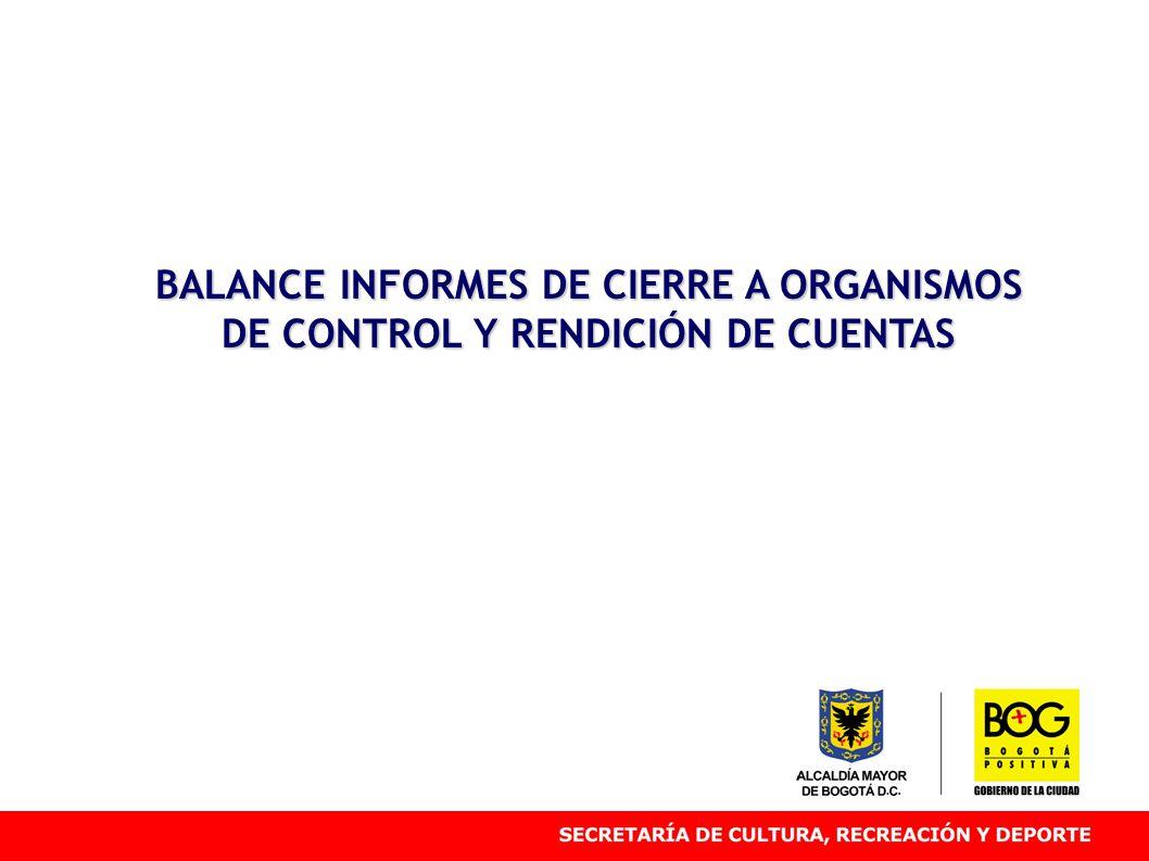 BALANCE INFORMES DE CIERRE A ORGANISMOS DE CONTROL Y RENDICIÓN DE CUENTAS