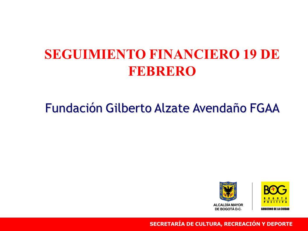 SEGUIMIENTO FINANCIERO 19 DE FEBRERO Fundación Gilberto Alzate Avendaño FGAA