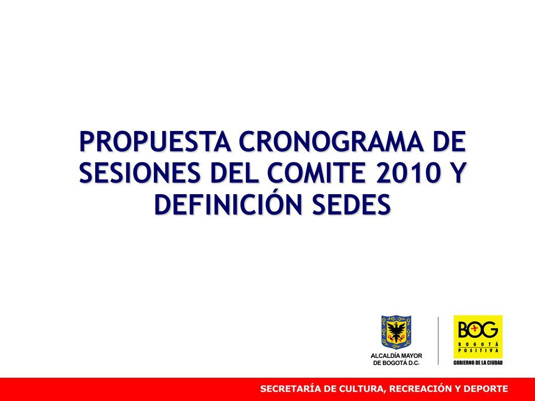 PROPUESTA CRONOGRAMA DE SESIONES DEL COMITE 2010 Y DEFINICIÓN SEDES