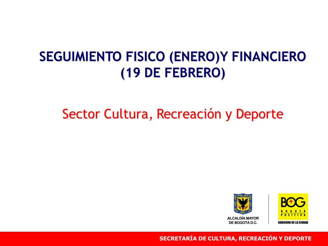 SEGUIMIENTO FISICO (ENERO)Y FINANCIERO (19 DE FEBRERO) Sector Cultura, Recreación y Deporte