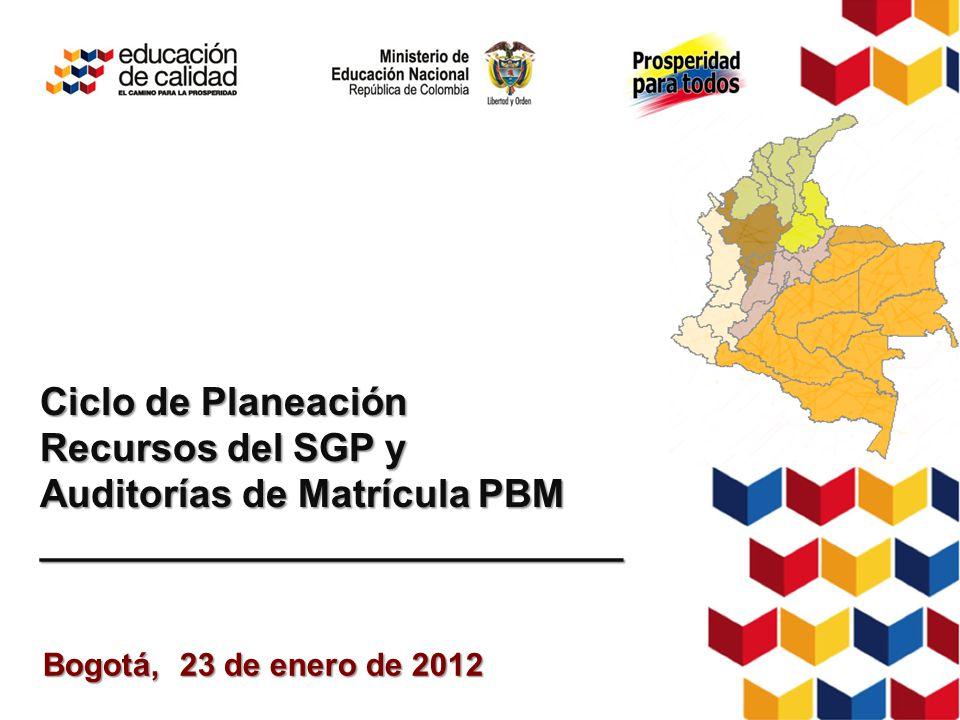 Bogotá, 23 de enero de 2012 Ciclo de Planeación Recursos del SGP y Auditorías de Matrícula PBM ___________________________