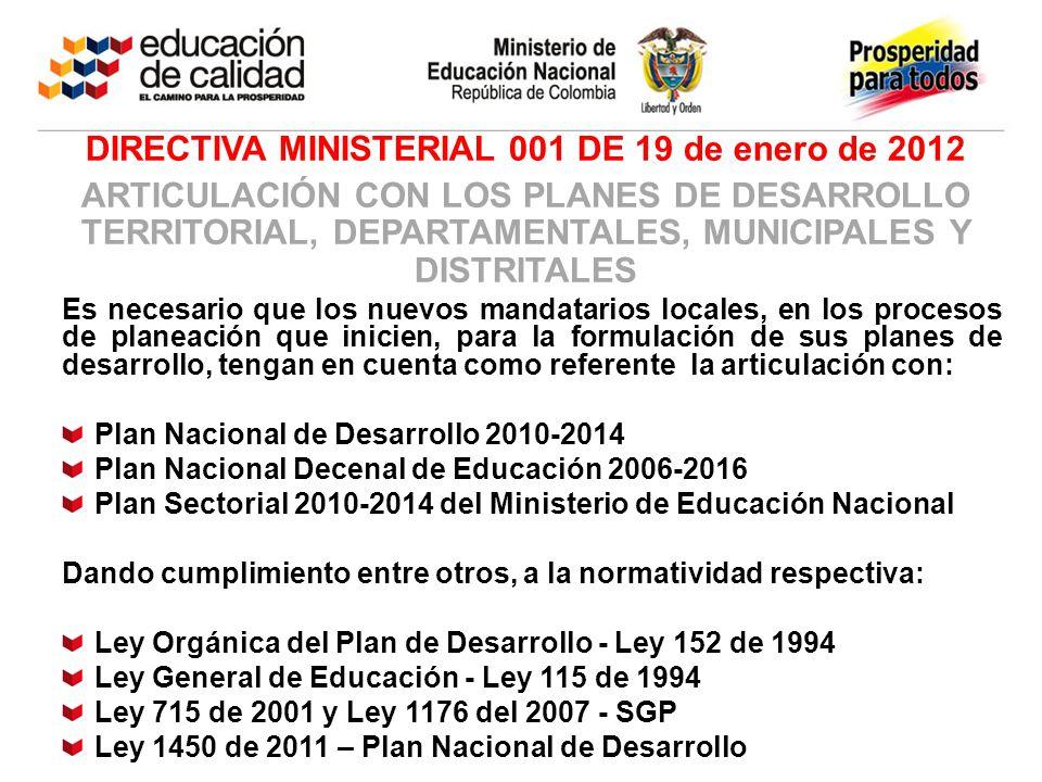 DIRECTIVA MINISTERIAL 001 DE 19 de enero de 2012 ARTICULACIÓN CON LOS PLANES DE DESARROLLO TERRITORIAL, DEPARTAMENTALES, MUNICIPALES Y DISTRITALES Es