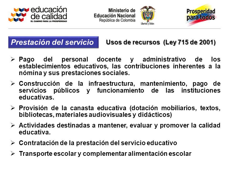 Pago del personal docente y administrativo de los establecimientos educativos, las contribuciones inherentes a la nómina y sus prestaciones sociales.