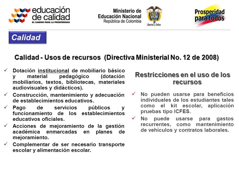 Calidad - Usos de recursos (Directiva Ministerial No. 12 de 2008) Dotación institucional de mobiliario básico y material pedagógico (dotación mobiliar