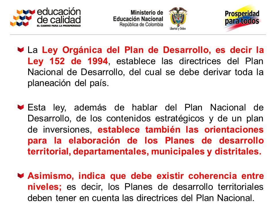 La Ley Orgánica del Plan de Desarrollo, es decir la Ley 152 de 1994, establece las directrices del Plan Nacional de Desarrollo, del cual se debe deriv