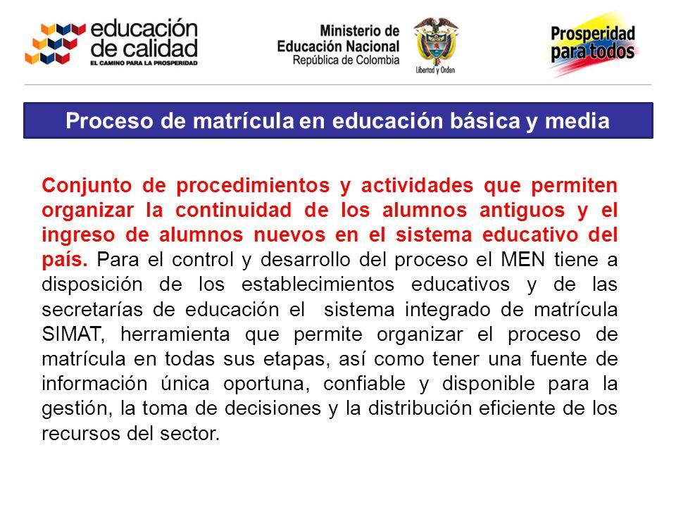 Conjunto de procedimientos y actividades que permiten organizar la continuidad de los alumnos antiguos y el ingreso de alumnos nuevos en el sistema ed