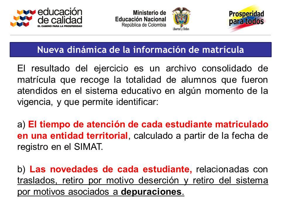 Nueva dinámica de la información de matrícula El resultado del ejercicio es un archivo consolidado de matrícula que recoge la totalidad de alumnos que