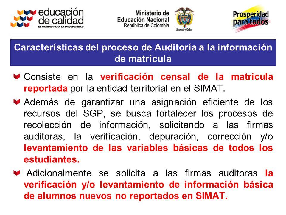 Características del proceso de Auditoría a la información de matrícula Consiste en la verificación censal de la matrícula reportada por la entidad ter