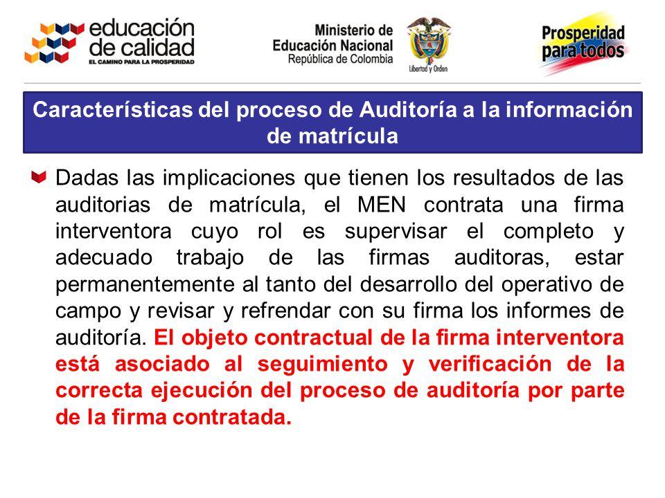 Características del proceso de Auditoría a la información de matrícula Dadas las implicaciones que tienen los resultados de las auditorias de matrícul