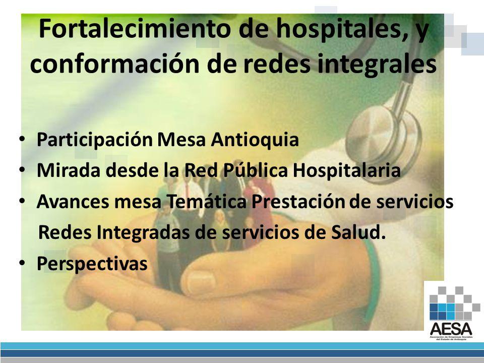 Participación Mesa Antioquia Mirada desde la Red Pública Hospitalaria Avances mesa Temática Prestación de servicios Redes Integradas de servicios de Salud.