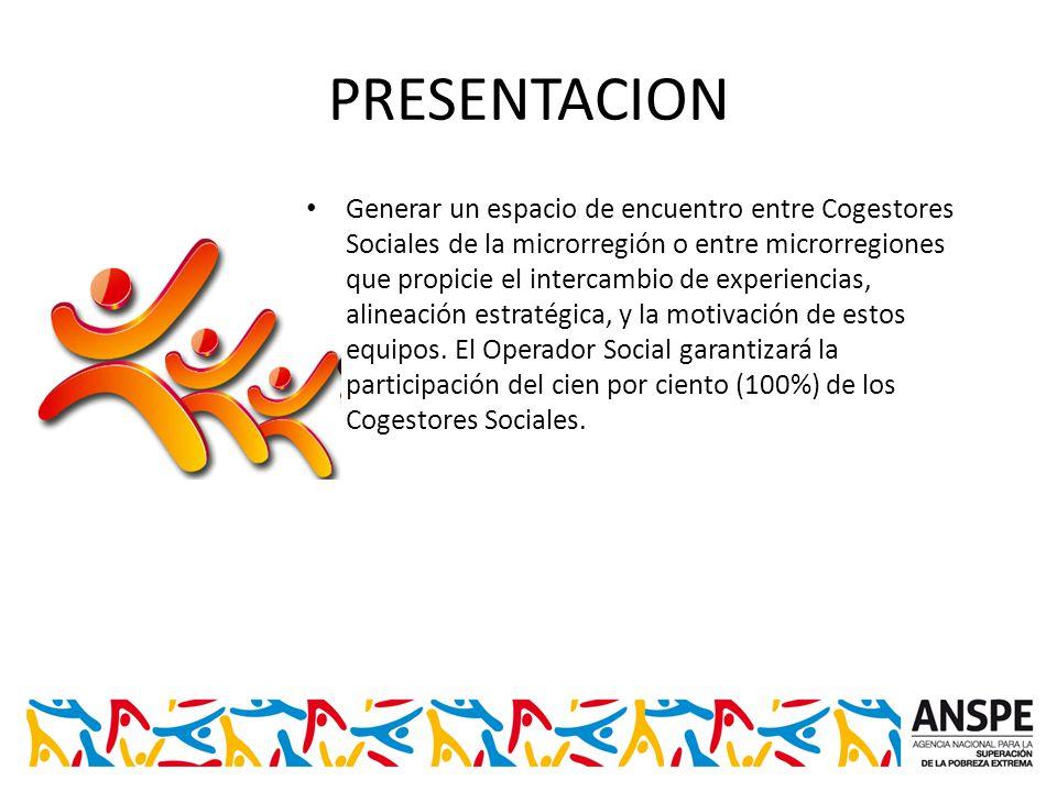 PRESENTACION Generar un espacio de encuentro entre Cogestores Sociales de la microrregión o entre microrregiones que propicie el intercambio de experiencias, alineación estratégica, y la motivación de estos equipos.