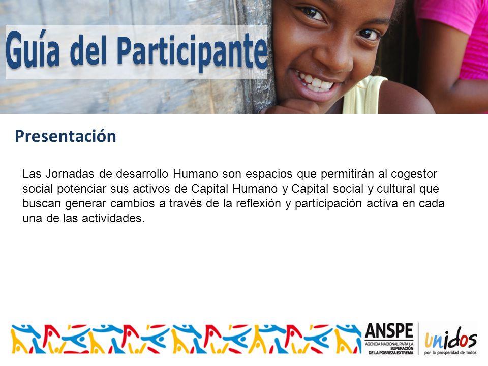 Presentación Las Jornadas de desarrollo Humano son espacios que permitirán al cogestor social potenciar sus activos de Capital Humano y Capital social y cultural que buscan generar cambios a través de la reflexión y participación activa en cada una de las actividades.